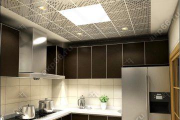 Кассетный потолок на кухне черная клетка на скрытой подвесной системе