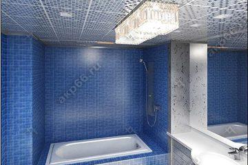 Кассетный потолок в ванной комнате на скрытой подвесной системе мозаика серебро
