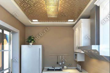 Кассетный потолок на кухне 300х300 мм на скрытой подвесной системе с узором «Мозаика» золото