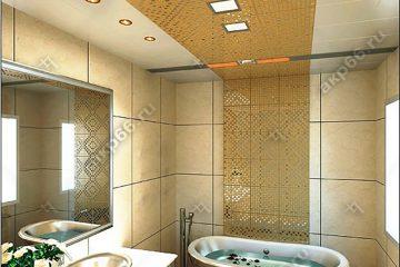 Кассетный потолок в ванной комнате на скрытой подвесной системе белый в центре с мозаикой золото