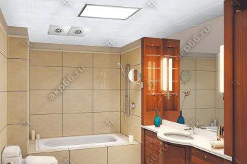 Кассетный потолок в ванной комнате белый мозаика на скрытой подвесной системе