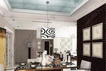 Кассетный потолок в кафе зеркальная сетка на скрытой подвесной системе