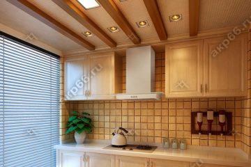 Кассетный потолок на кухне с декоративными балками на скрытой подвесной системе