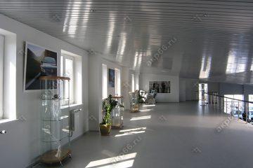 Реечный потолок в автосалоне цвет серебристый металлик