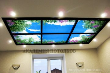 Потолок в кухне. Фотопечать на спец.профиле в нише из гипсокартона.