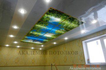 """Потолок с фотопечатью """"Небо"""" и подсветкой по бокам"""