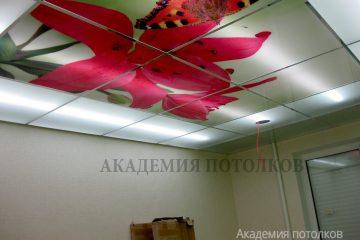 """Матовый потолок с подсветкой и фотопечатью """"Красная лилия""""."""