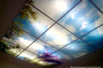 Потолок в прихожей. Фотопечать на белой подвесной системе.