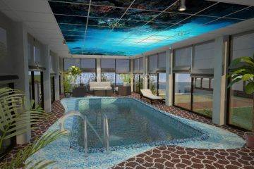 """Потолок белый с фотопечатью """"Подводный мир"""" над бассейном."""