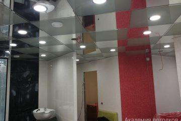 Кассетный потолок, серый с хромом, шахматка и светильниками