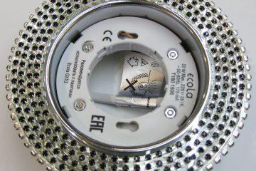 Светильник Ecola GX53, круглый с чёрными стразами хром-хром зеркальный фон