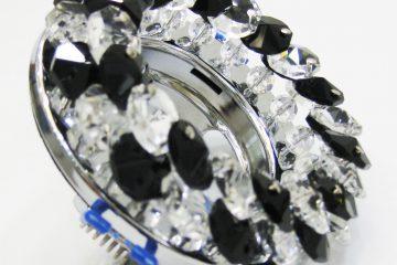 Светильник Ecola MR16, круглый с хрусталиками прозрачный и чёрный хром