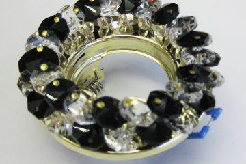 Светильник Ecola MR16, круглый с хрусталиками прозрачный и чёрный золото