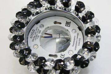 Светильник Ecola GX53, круглый с хрусталиками прозрачный и чёрный хром