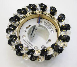 Светильник Ecola GX53, круглый с хрусталиками прозрачный и чёрный золото