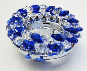 Светильник Ecola MR16, круглый с хрусталиками прозрачный и голубой хром