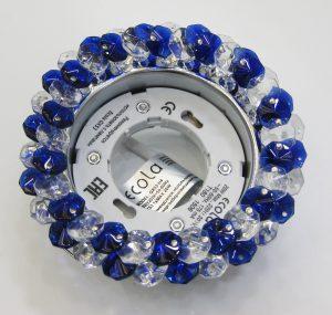 Светильник Ecola GX53, круглый с хрусталиками прозрачный и голубой хром