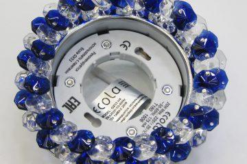 Круг с хрусталиками прозрачный и голубой хром