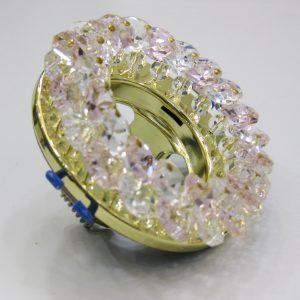 Светильник Ecola MR16, круглый с хрусталиками прозрачный и розовый золото