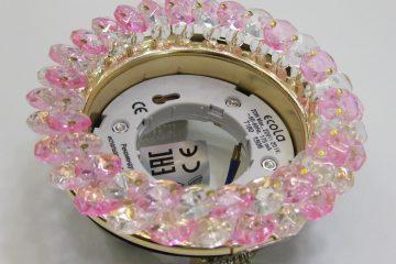 Светильник Ecola GX53, круглый с хрусталиками прозрачный и розовый золото