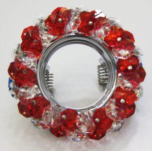 Светильник Ecola MR16, круглый с хрусталиками прозрачный и рубин хром