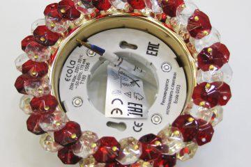 Светильник Ecola GX53, круглый с хрусталиками прозрачный и рубин золото
