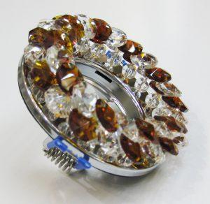 Светильник Ecola MR16, круглый с хрусталиками прозрачный и янтарь хром