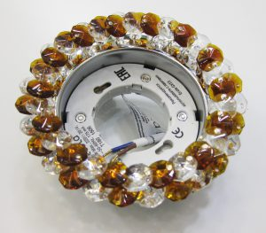 Светильник Ecola GX53, круглый с хрусталиками прозрачный и янтарь хром