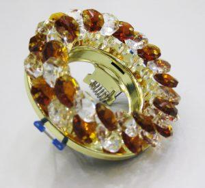 Светильник Ecola MR16, круглый с хрусталиками прозрачный и янтарь золото