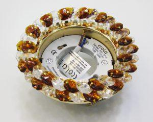 Светильник Ecola GX53, круглый с хрусталиками прозрачный и янтарь золото