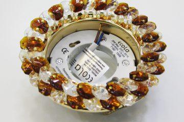 Круг с хрусталиками прозрачный и янтарь золото