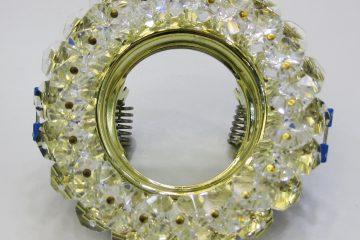 Светильник Ecola MR16, круглый с чёрными стразами хром-хром зеркальный фон