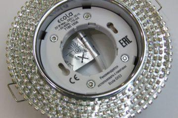 Светильник Ecola GX53, круглый с прозрачными стразами хром-хром зеркальный фон