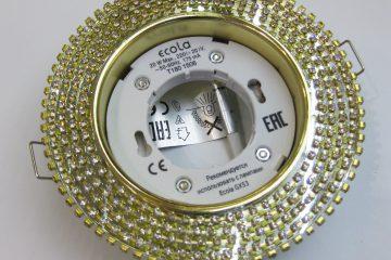 Светильник Ecola GX53, круглый с прозрачными стразами золото-золото зеркальный фон
