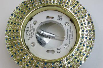 Светильник Ecola GX53, круглый с прозрачными бирюзовыми стразами золото-золото зеркальный фон