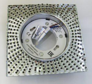 Светильник Ecola GX53, квадратный с чёрными стразами хром-хром зеркальный фон