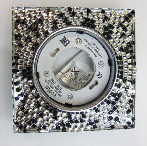 Светильник Ecola GX53, квадратный с прозрачно-чёрной мозаикой зеркальный фон