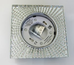 Светильник Ecola GX53, квадратный с прозрачными стразами хром-хром