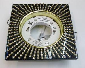 Светильник Ecola GX53, квадратный с прозрачными стразами золото-золото