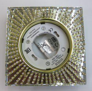 Светильник Ecola GX53, квадратный с прозрачными стразами золото-золото зеркальный фон