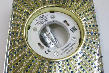 Светильник Ecola GX53, квадратный с прозрачными бирюзовыми стразами золото-золото зеркальный фон