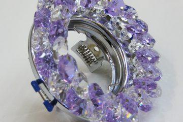 Светильник Ecola MR16, круглый с хрусталиками прозрачный и аметист хром