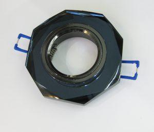Светильник Ecola MR16, 8-угольник, Чёрный/ Чёрный хром