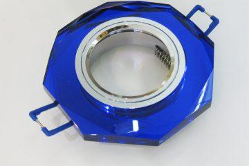 Светильник Ecola MR16, 8-угольник, Голубой/ Хром