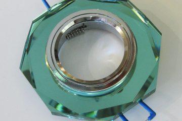 Светильник Ecola MR16, 8-угольник, Изумруд/ хром