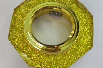 Светильник Ecola MR16, 8-угольник, Золотой блеск/ Золото
