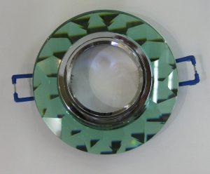 Светильник Ecola MR16, гранёный, Изумруд/ Хром