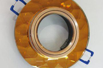 Светильник Ecola MR16, гранёный, Янтарь/Чернёная медь
