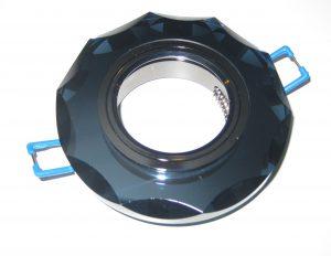 Светильник Ecola MR16, с вогнутыми гранями, Чёрный/ Чёрный хром