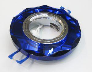 Светильник Ecola MR16, с вогнутыми гранями, Голубой/ Хром